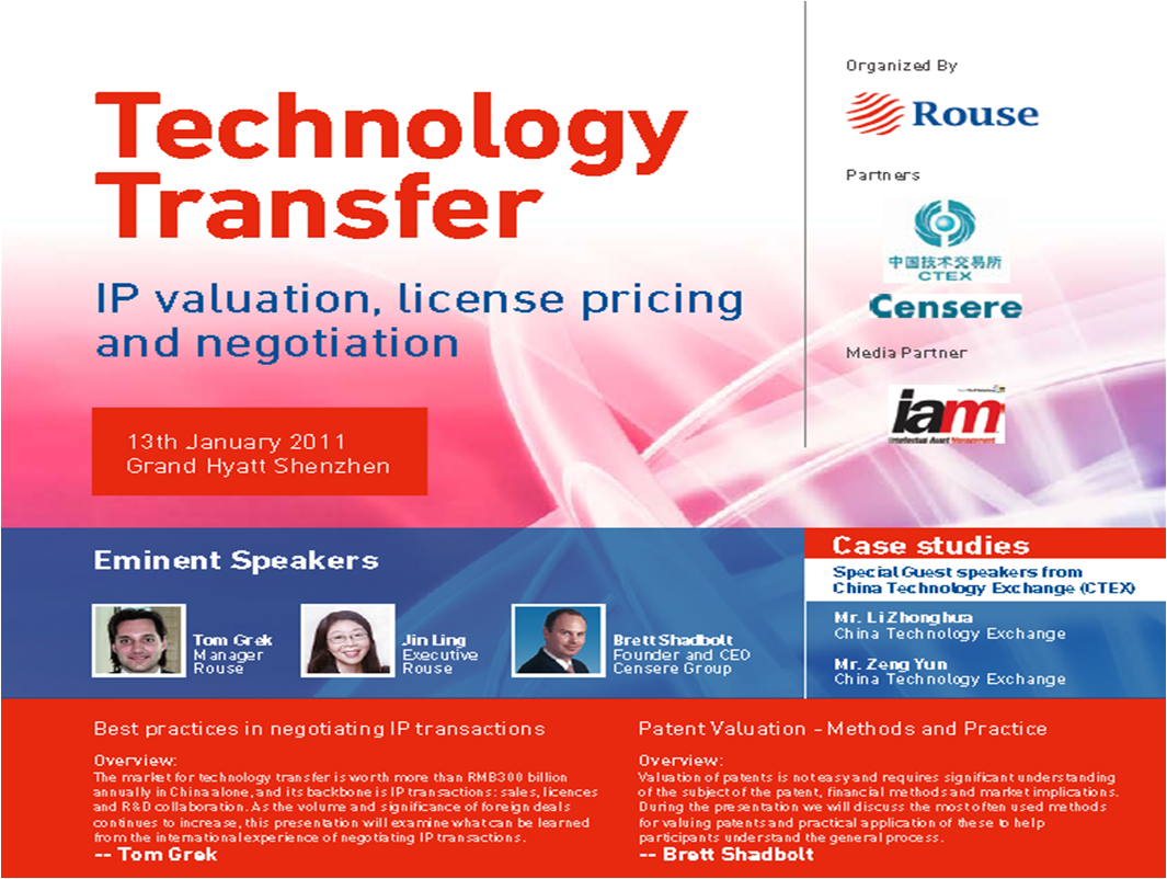 Censere speaking at Technology Transfer Forum in Shenzhen - January 2011
